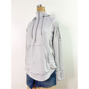 Athleta Striped Face Guard Zip Pocket Hoodie